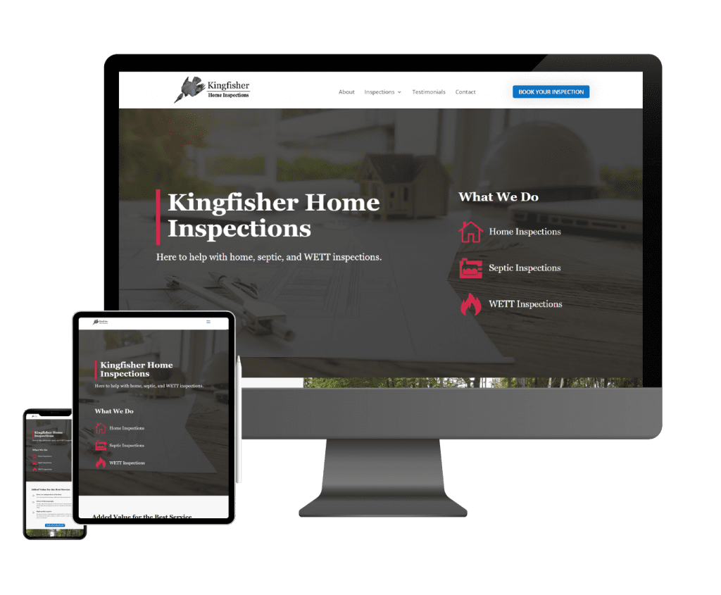 Graphic of the Kingfisher Inspections homepage being displayed on a desktop, tablet, and mobile screen