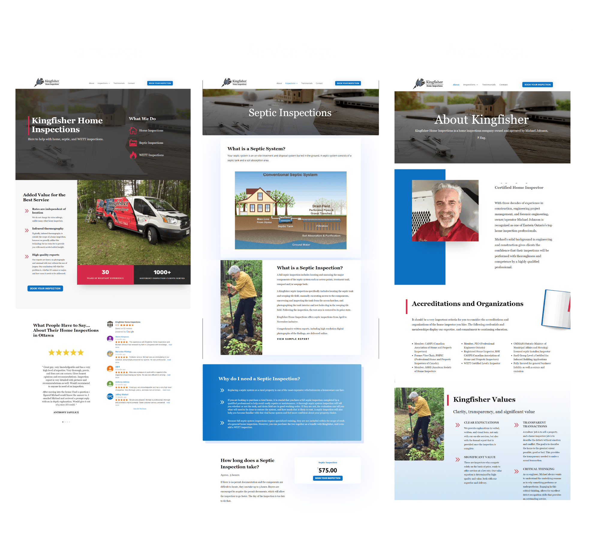 Screenshots of the Kingfisher Inspections' home page, about page, and service page