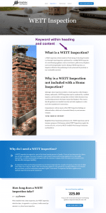 "Screenshot of the Kingfisher Home Inspections website, and where we used the keyword ""what is a WETT inspection"" on the website"