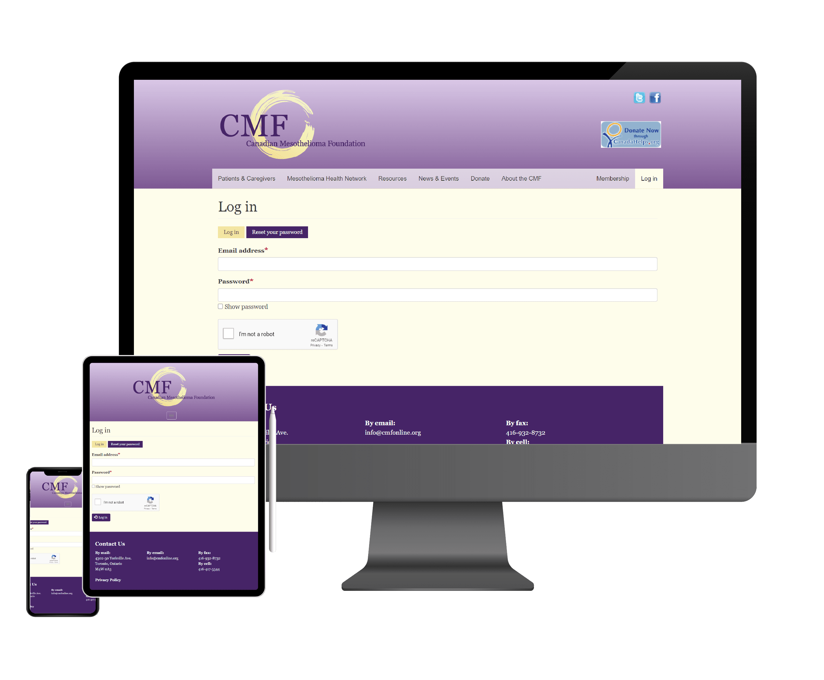 three screenshots of the canadian mesothelioma foundation's portal on desktop, tablet, and mobile
