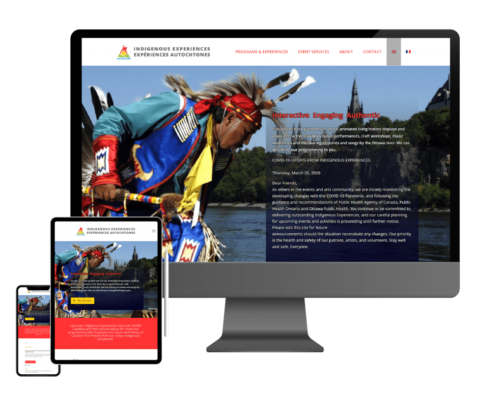 Indigenous Expiriences homepage on a desktop, tablet, and mobile view