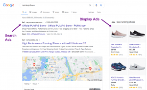 Screenshots of display and search shoe ads on Google