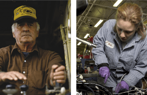 two images of a man working in construction and a woman working in mechanics