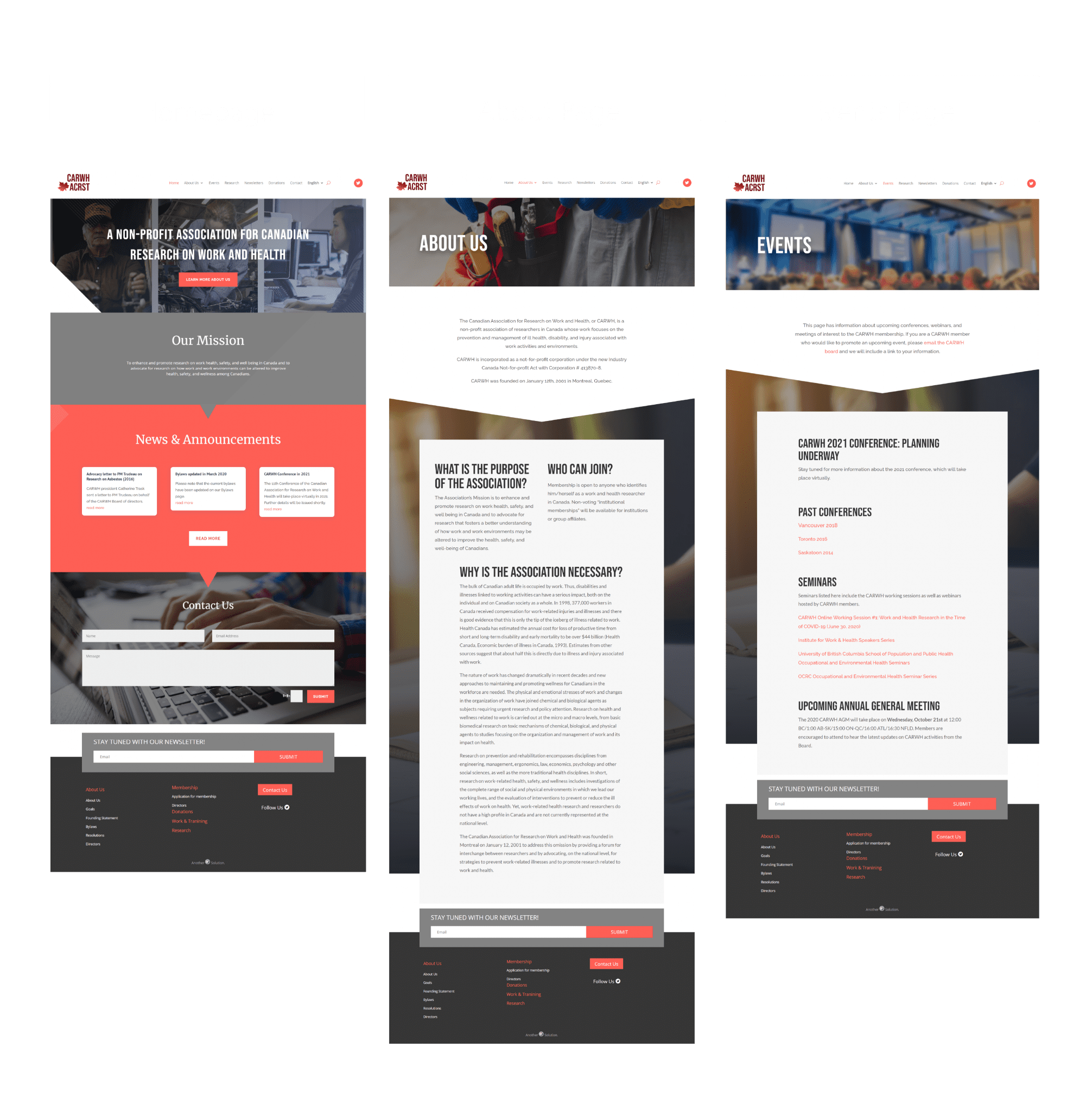 about page, homepage, and events page on CARWH website