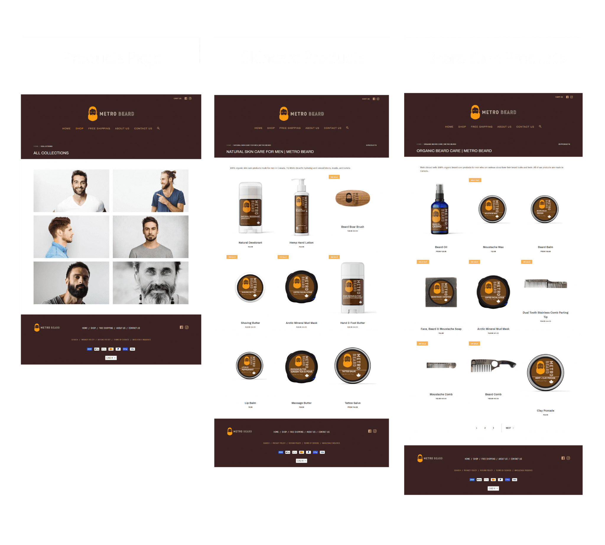 screenshots of the products page, organic beard care page, and natural hair care products page on the metro beard website