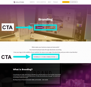 screenshot of U7 Solutions branding page with arrows pointing to CTAs on webpage