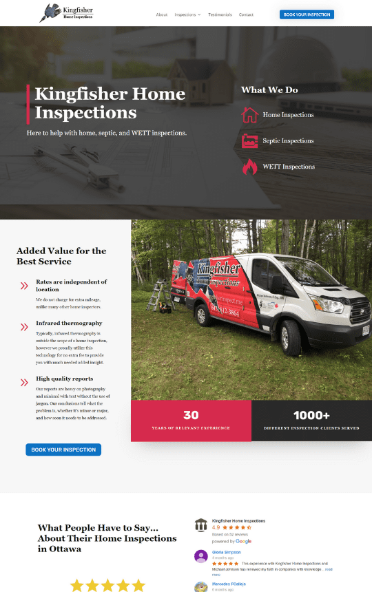 kingfisher inspections homepage