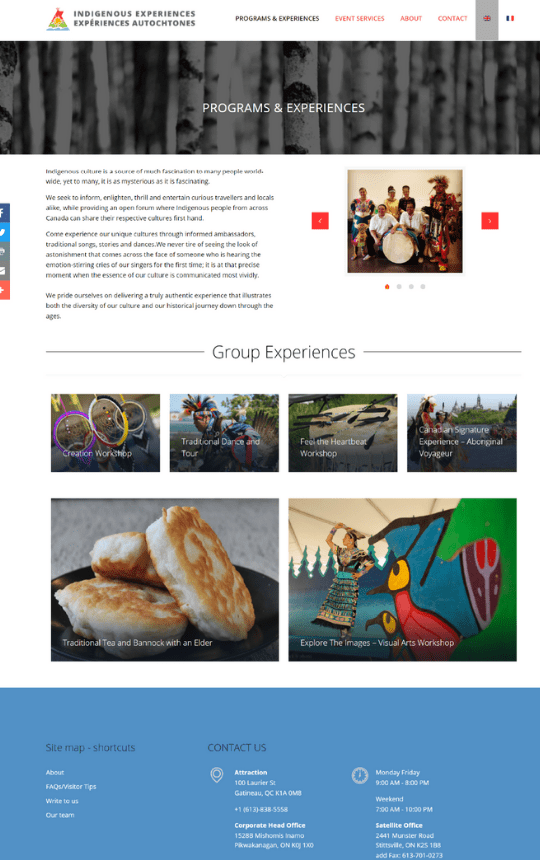 Indigenous Experiences page