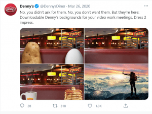 screenshot of denny's clever tweets during covid