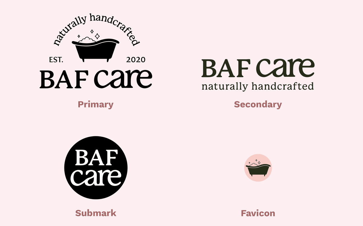 Logo variations and examples from brand BAF care that show primary, secondary, submark, and favicon logos.