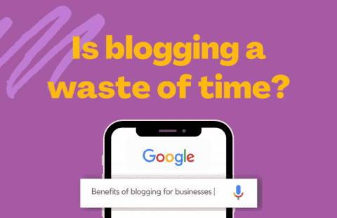 graphic of a google search 'benefits of blogging for business'