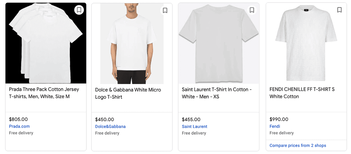 Screenshot of four white t-shirts by different brands comparing price