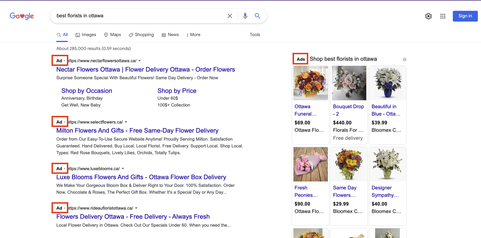 Screenshot of a google search result page showing ads