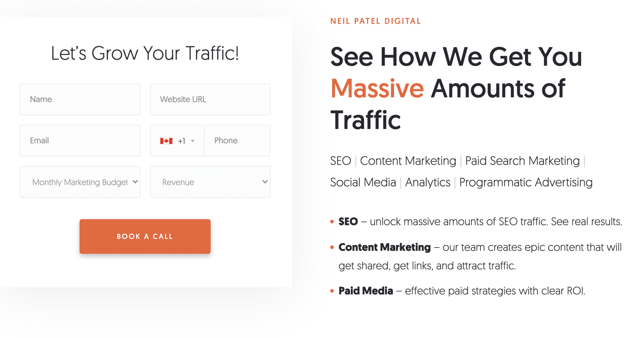 Screenshot of Neil Patel's consultation services form to grow traffic