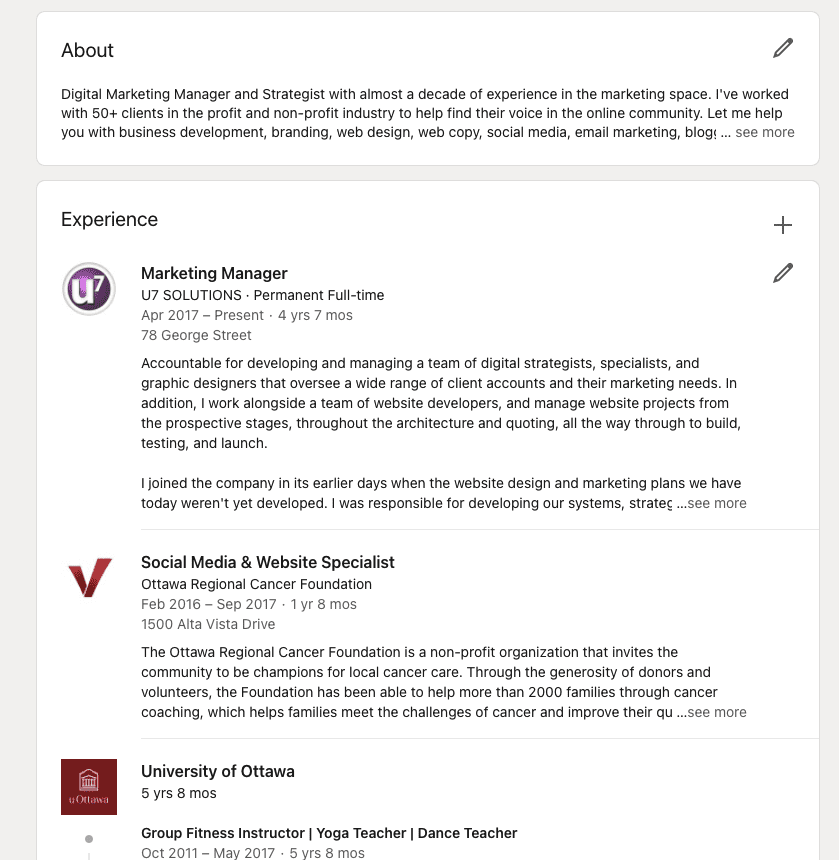 Screenshot of LinkedIn's experience section