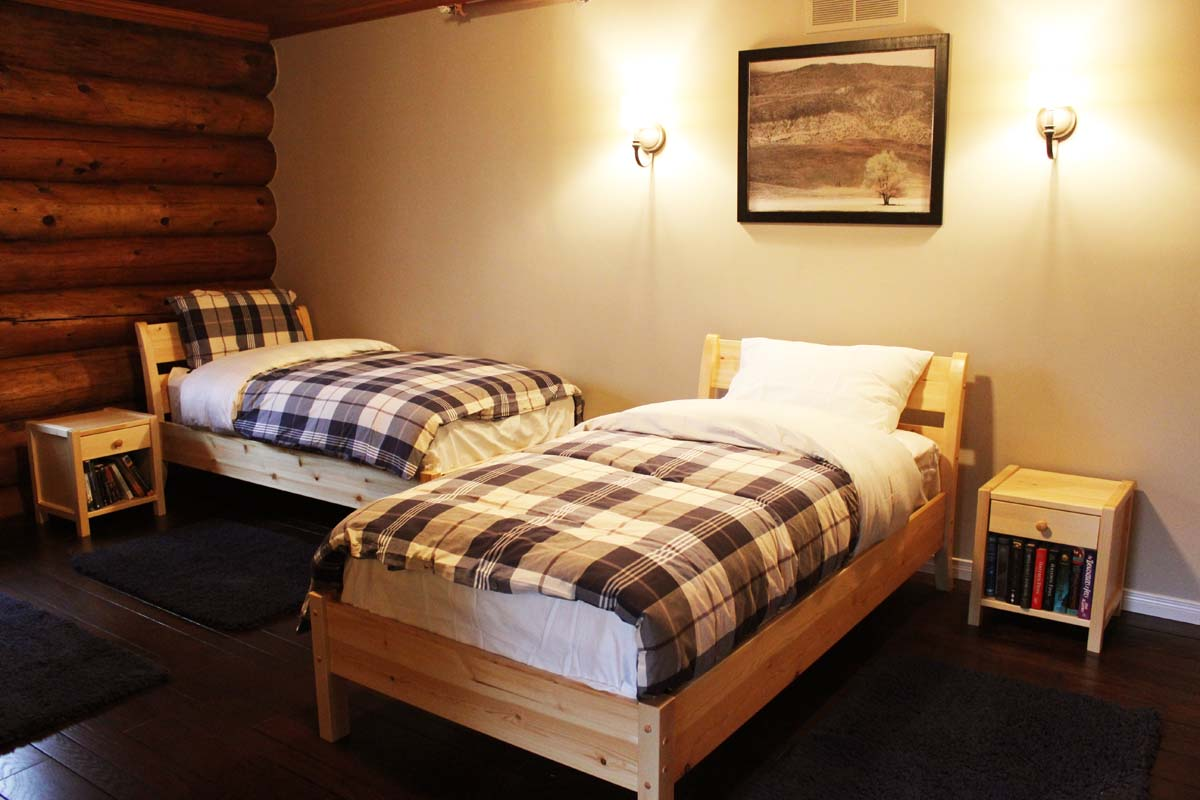 double beds in the farm rehab lodging
