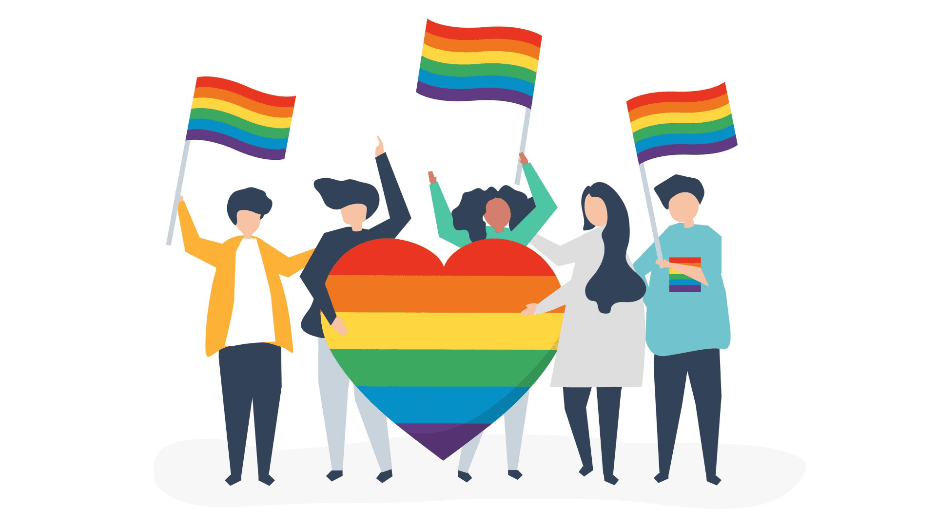 Animation of people holding rainbow coloured flags and a ranbow coloured heart in support of th LGBTQ community