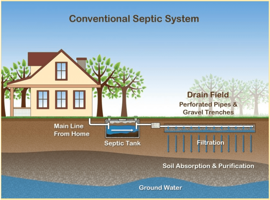 Graphic demonstrating the conventional septic system process