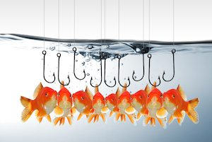 Goldfish with hooks around