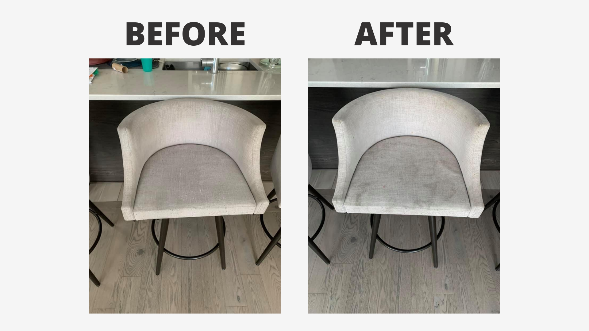 white chair before and after being cleaned