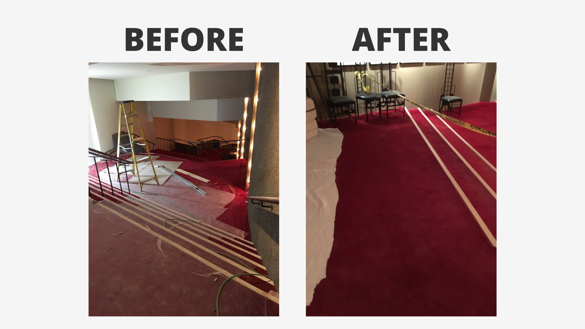 before and after photo of a red carpet being repaired