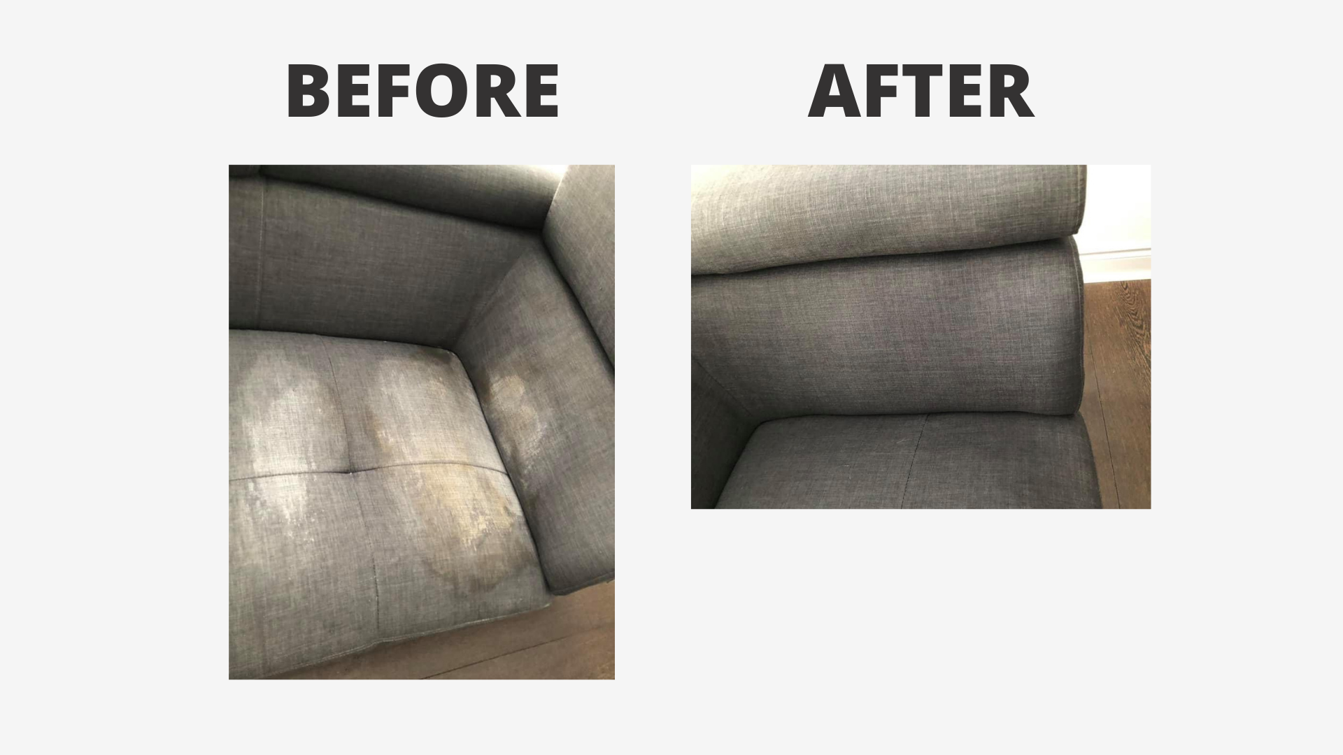 image of a couch with a stain on it beside another image of the same couch without a stain