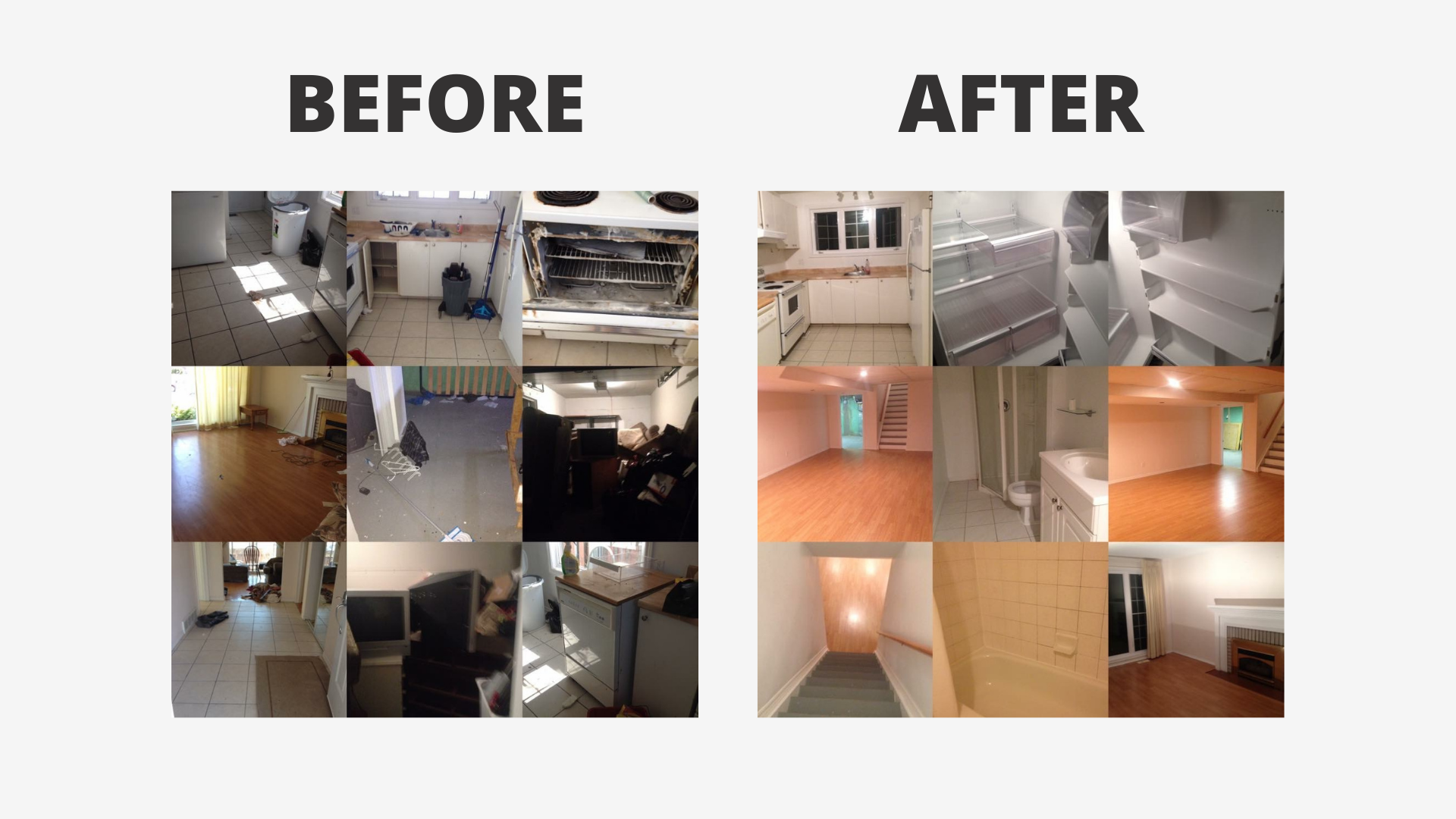 collage of a home before and after being cleaned