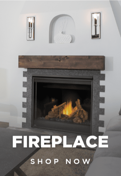 """Built in electric fireplace with wood accent, has text that reads """"Fireplace Shop Now"""""""