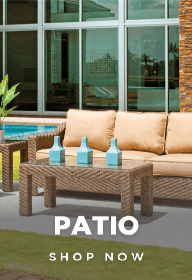 Outdoor patio furniture, glass top coffee table and beige couch